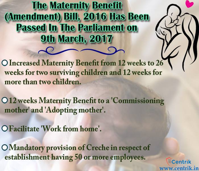 the maternity benefits act Expecting in india: employee maternity pay and leave the maternity benefits act, 1961, grants employees mandatory paid leave and extends to the whole of india.